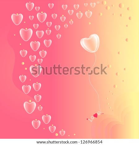 Valentine's Day card on the pink  background - stock vector