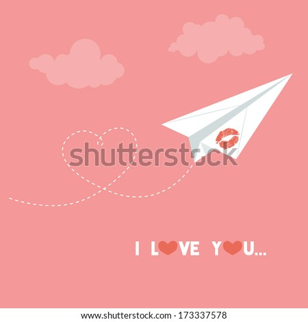 Valentine's day card. Origami paper plane. Dash heart in the sky. Love card. Vector illustration.  Eps 10 - stock vector