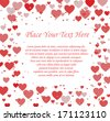 Valentine's day card template hearts - stock vector