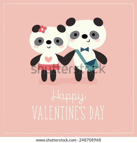 Valentine's Day card template with cute hipster pandas on peach background. Great for poster, menu, party invitations, social media, web banner.