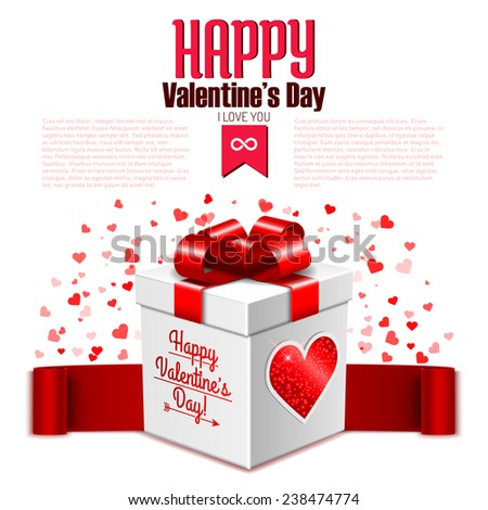 Valentine's Day card template with surprise gift box