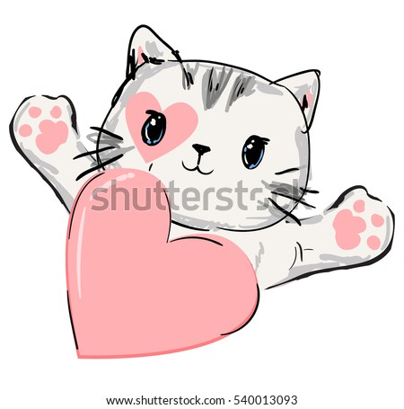 how to draw a cat holding a heart