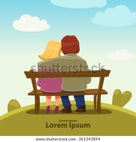 Valentine's Day card, vector illustration, happy couple sitting on a bench, love, hugs, cartoon characters, romantic date  - stock vector
