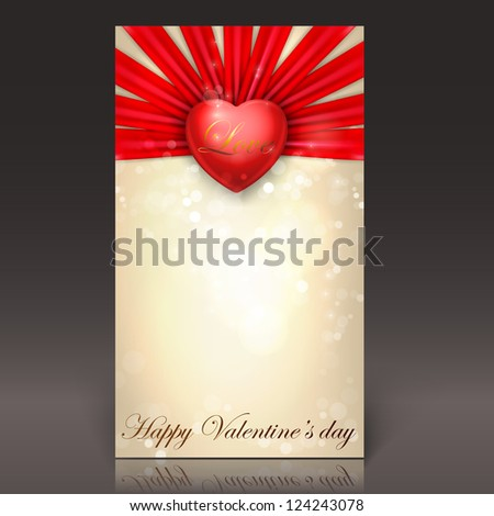 Valentine's day  card. Vector template. Red heart and ribbons - stock vector