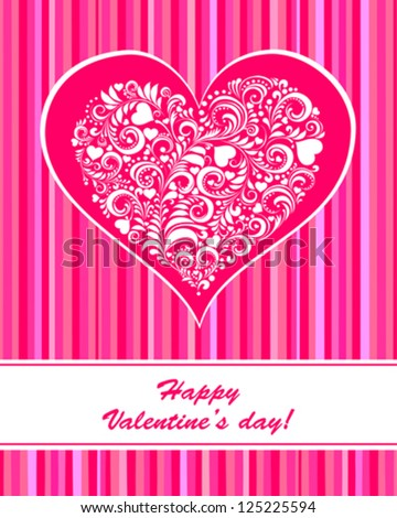 Valentine's day card with beautiful heart. Vector Illustration - stock vector