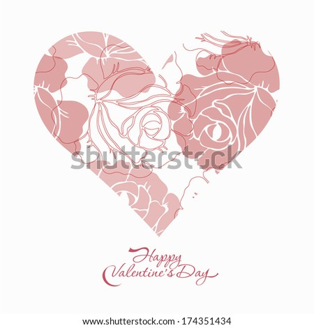 Valentine's day card with beautiful rose