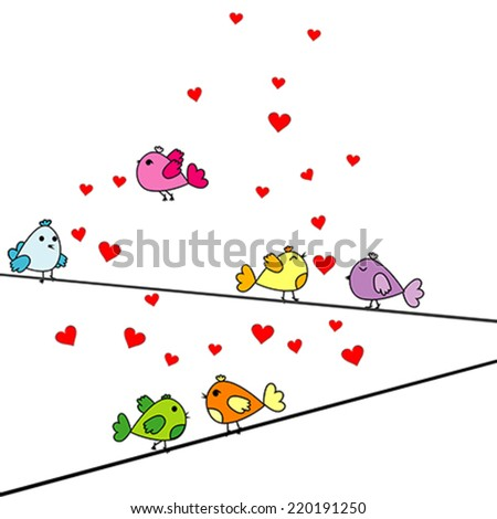 Valentine's Day card with cartoon birds and hearts - stock vector