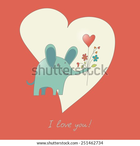 Valentine's Day card with elephant gifting flowers - stock vector