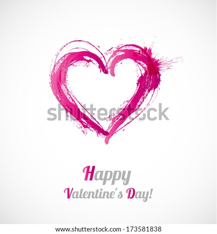 Valentine's day card with hand-drawn heart on white background. - stock vector