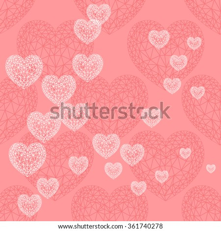 Valentine's day card with hearts. White thin line ornamental hearts on pink  background. Vector background