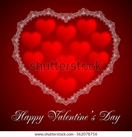 valentines day card with lace heart happy valentines day text message vector illustration