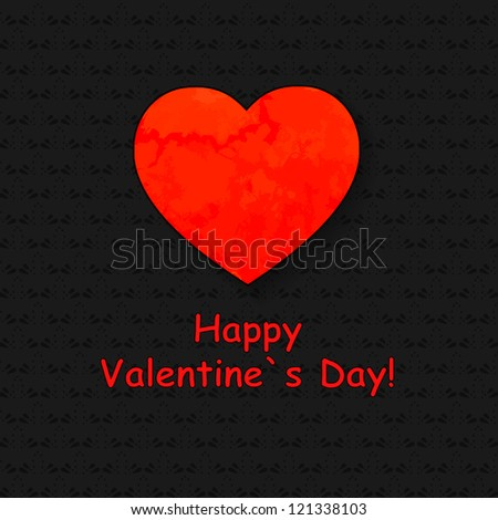 Valentine's day card with paper heart. Black ornament background with red heart.