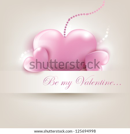 Valentine`s Day card with pink hearts. Vector Illustration. - stock vector