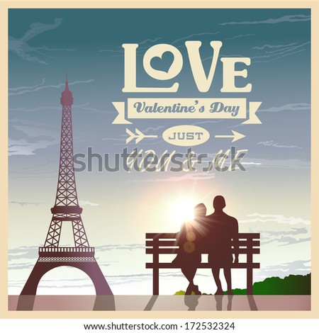 Valentine's day card with romantic couple at sunset background - stock vector