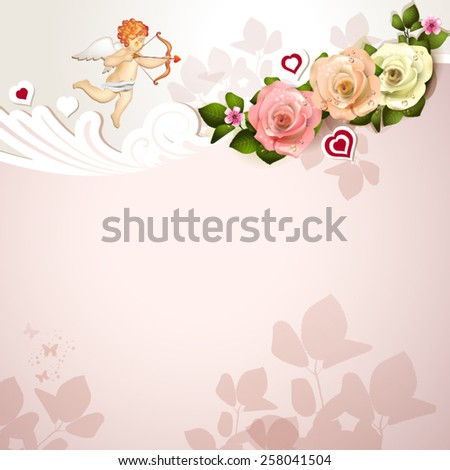 Valentine's day card with roses, hearts and cupid - stock vector