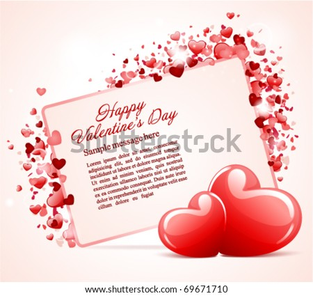 Valentine's day card with two hearts vector background - stock vector