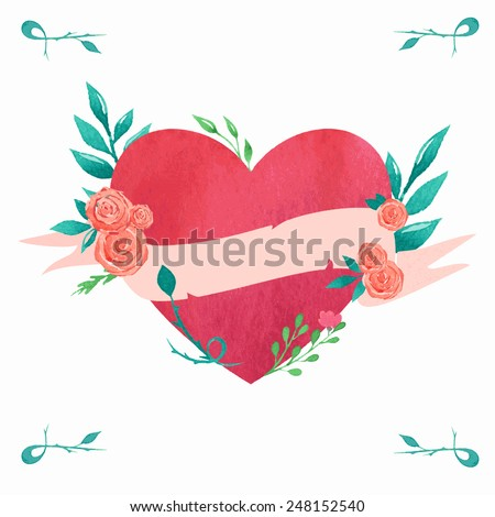 Valentine's day card with watercolor heart and decorative floral elements