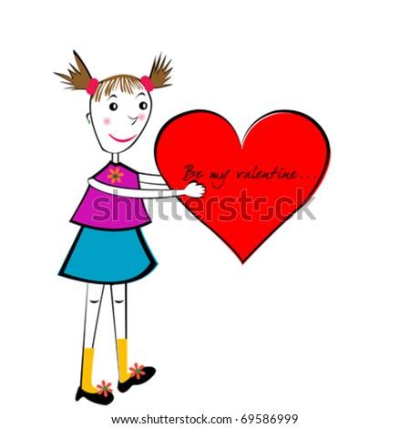 valentines day cartoon card handmade girl with a big heart