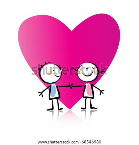 Valentine's Day cartoon little people in love with big heart, see more images related - stock vector