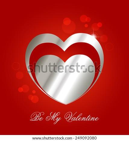 Valentine�´s day celebration background with stylized metallic hearts - stock vector