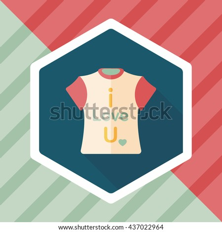 Valentine's Day clothes flat icon with long shadow,eps10