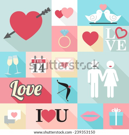 Valentine's Day cons - flat design - vector eps10  - stock vector