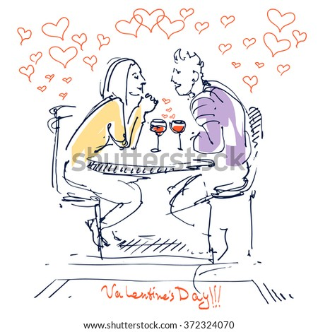 Valentine's Day. Couple in love sitting in restaurant with vine in the wineglass. Love cards. Vector sketch. - stock vector
