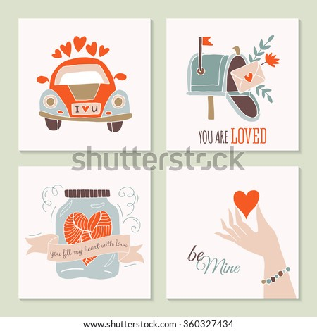Valentine's day creative hand drawing greeting card set with car, mailbox and jar. Isolated vector illustration - stock vector