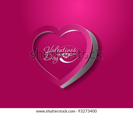 valentine's day curl paper heart, vector illustration. - stock vector