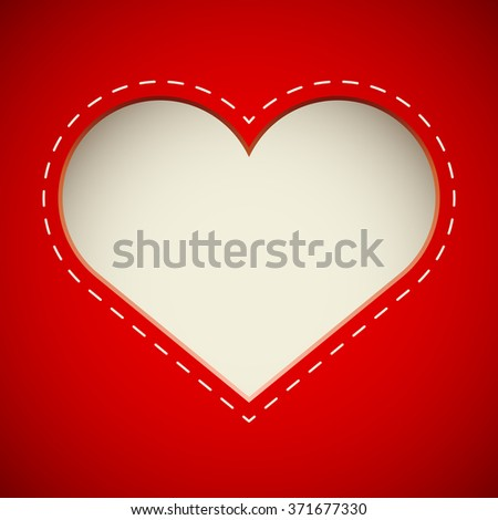 Valentine'??s Day cut heart card vector template.  - stock vector