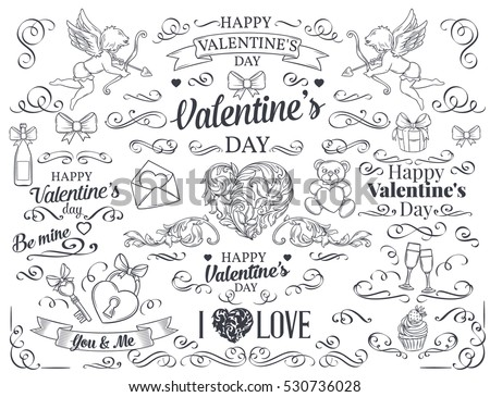 Valentine's day design element. Calligraphic and page decoration design elements. Swirl, scroll and divider. Vector flourishes.