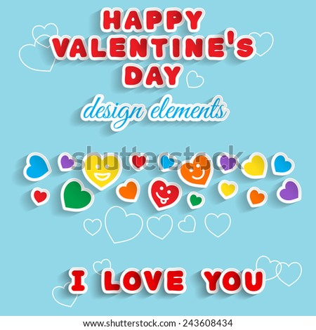Valentine's Day. Design elements. Handmade font. Handmade font. Transparent editable shadows. Smartly grouped and layered. - stock vector