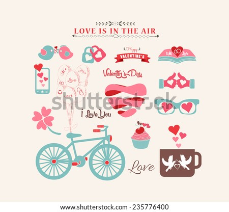 Valentine's day design, labels, icons elements collection - stock vector
