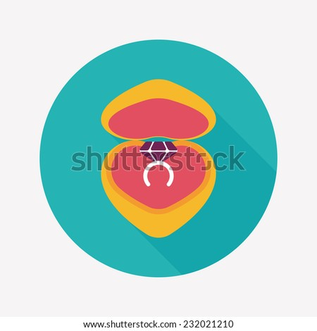 Valentine's Day diamond ring flat icon with long shadow,eps10 - stock vector