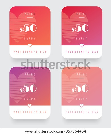 Valentine`s day discount price ui kit for web design. Website user interface cards with sale price and happy Valentine`s day note in colorful gradients. - stock vector