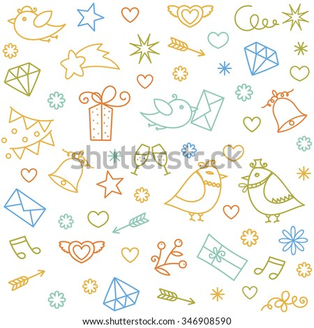 Valentine's Day doodle icons set. Traditional romantic symbols - heart shapes, arrows, gift box, doves, birds, champagne, love letters. Vector pattern for birthday, wedding, celebration eve, party.