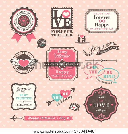 Valentine's day Elements labels and frames Vintage Style - stock vector