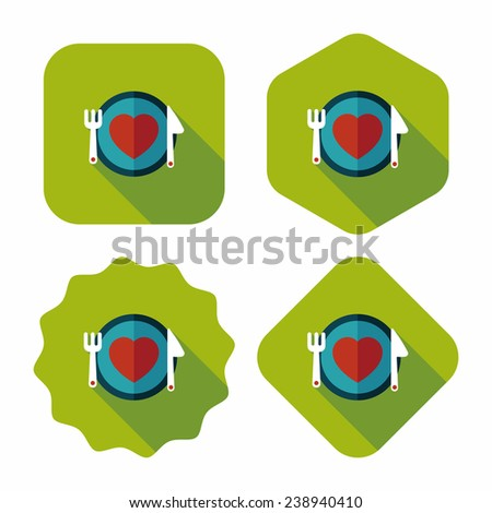 Valentine's Day flat icon with long shadow, eps10 - stock vector
