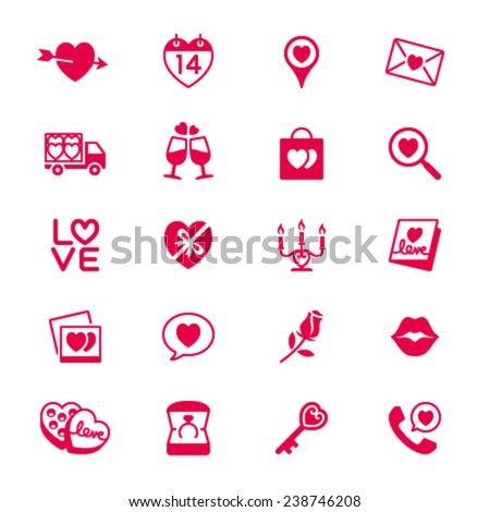 Valentine's day flat icons - stock vector