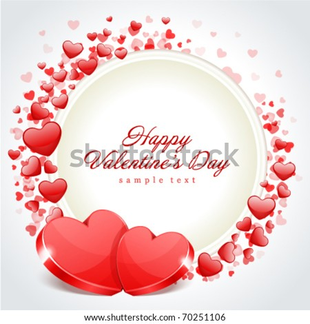 Valentine's day frame vector background with two hearts - stock vector