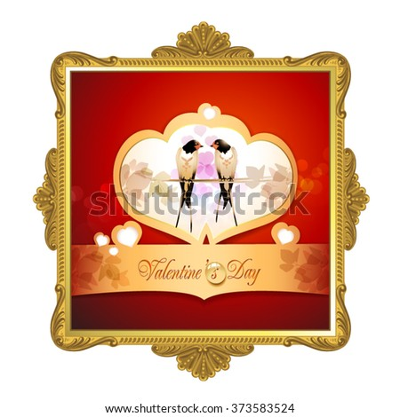 Valentine's day frame with two swallows - stock vector