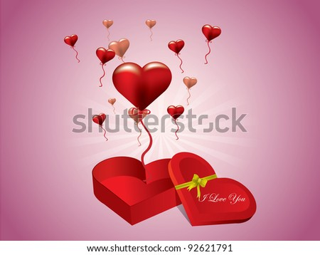 Valentine's day gift box with hearts - stock vector