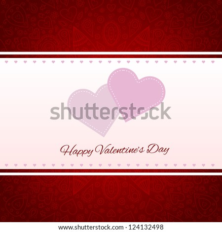 Valentine's day gift card with 2 hearts and ornaments on background - stock vector