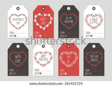 Valentine's day Gift tags set, stickers and labels. Template for Greeting Scrap booking, Congratulations, Invitations, Planner, Diary, Notes. - stock vector