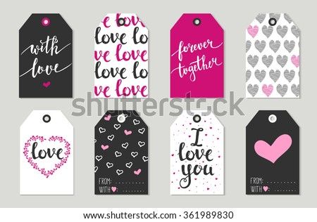 Valentine's day Gift tags set, stickers and labels. Vector illustration. Template for Greeting Scrap booking, Congratulations, Invitations, Planner, Diary, Notes. - stock vector