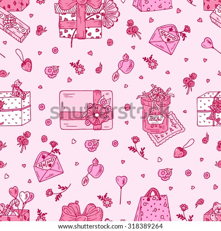 Valentine's Day Gifts - hand drawn doodle Seamless pattern. Pink festive background.