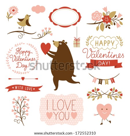 Valentine's day graphic elements, vector collection  - stock vector