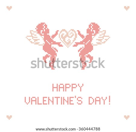 Valentine's day. Greeting card. Cute Cupids. Cupid angels. Scheme of knitting and embroidery. Vector illustration. - stock vector