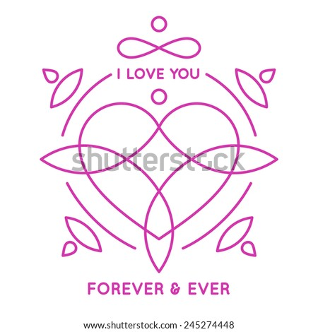 Valentine's day greeting card. Hand lettering, vector illustration. - stock vector