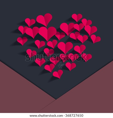 Valentine's Day greeting card, paper cut out, origami style. - stock vector